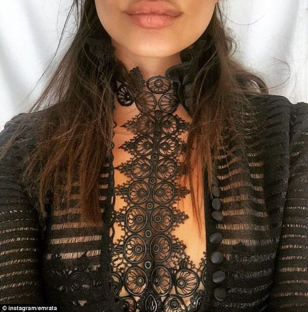 Not shy: Just a week prior, Emily exhibited an Alexander McQueen top which featured a sheer design around the chest area