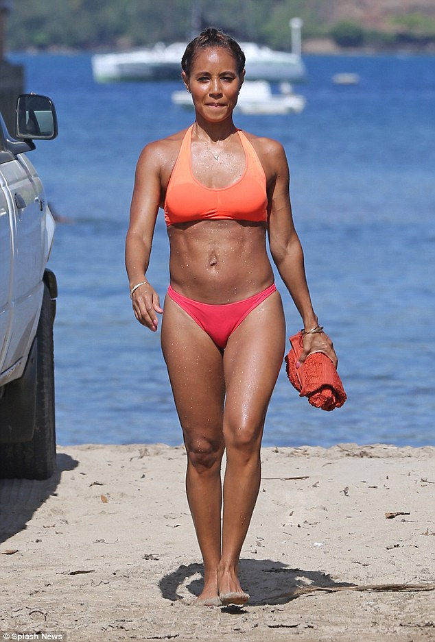 Yummy mummy: Jada Pinkett-Smith was happy to draw attention back to her amazing physique as she put her toned figure on display on Wednesday afternoon