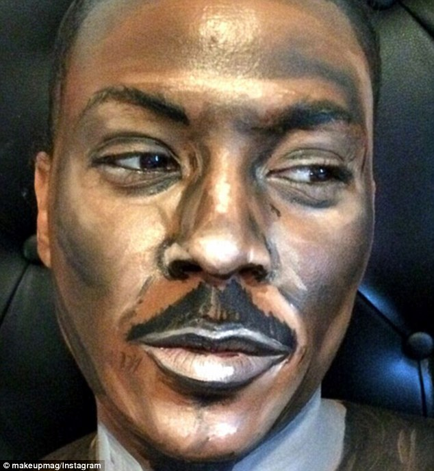 Comedian Eddie Murphy is achieved with lots of highlighting and his usual trimmed moustache