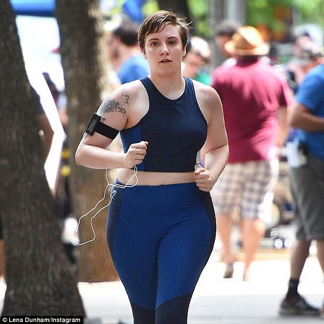 Life-changing: Lena took to Instagram to share this snap from her run on Wednesday gushing about how the activity has improved her relationship with her body