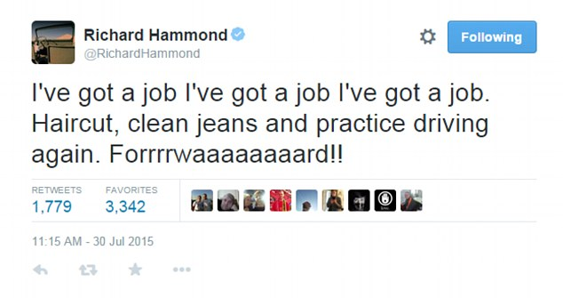 'I've got a job': Hammond appeared excited that he would have a haircut and be wearing clean jeans again