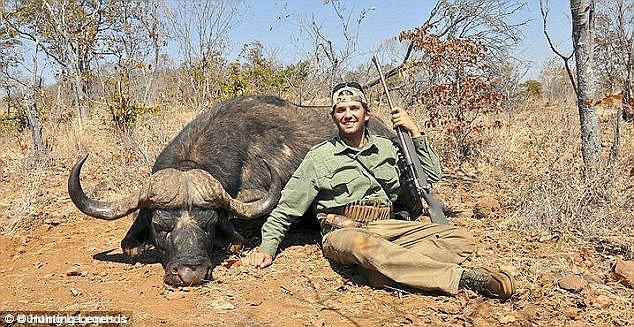 """Happy hunter: Don, seen here with a 40"""" Cape Buffalo Bull, is said to have 'the precision of a true marksman'"""