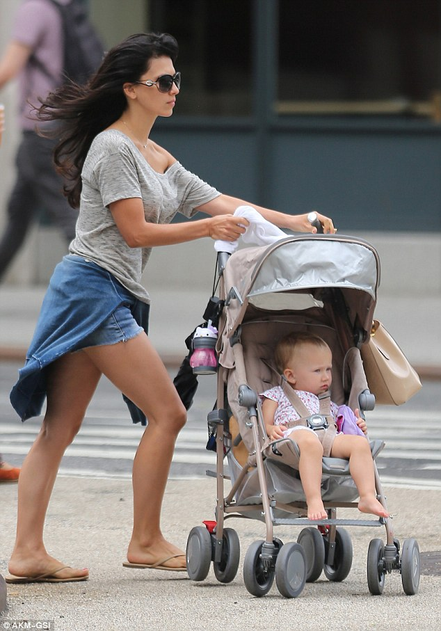 Stroll: The Spain native also took little Carmen out for a morning stroll, who made a few silly faces to our cameras while enjoying the ride in the Big Apple