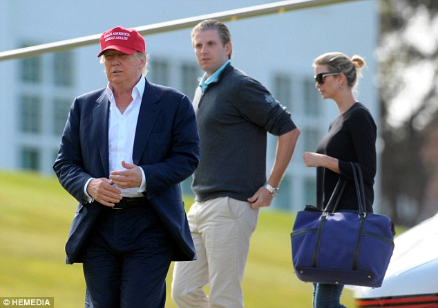 Arrival: Trump with Eric and his daughter Ivanka as they arrive by helicopter at Turnberry today