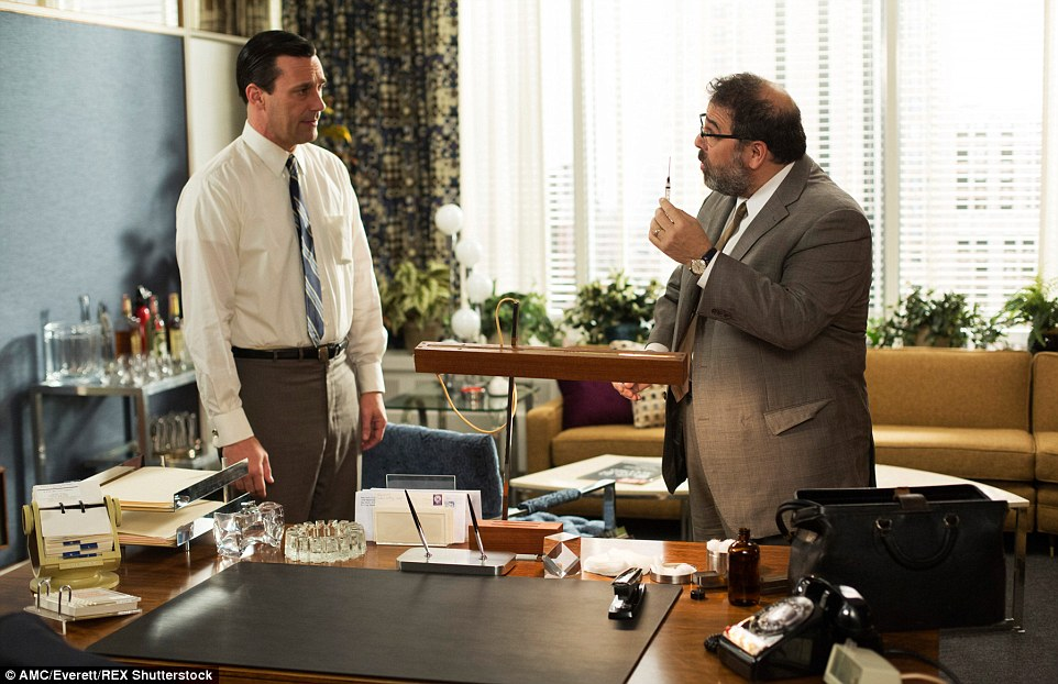 Most things surrounding Don Draper - pictured with a doctor in Joan's office in Season 6, Episode 608 - are up for grabs on Friday