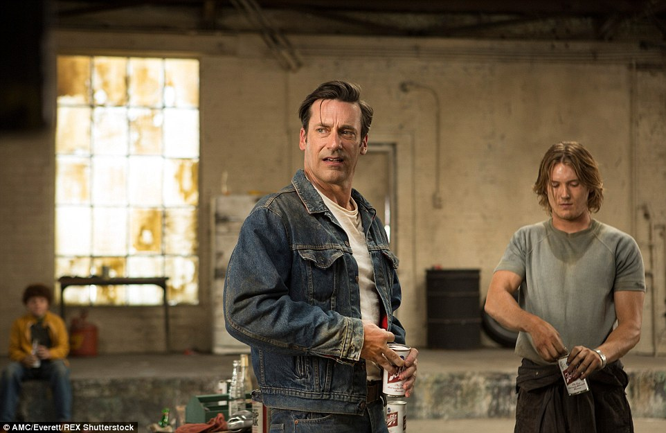 Up for grabs: Don Draper's denim Levi's jacket with red and black flannel lining, size 46, but fits smaller. Pictured in Season 7, Episode 14