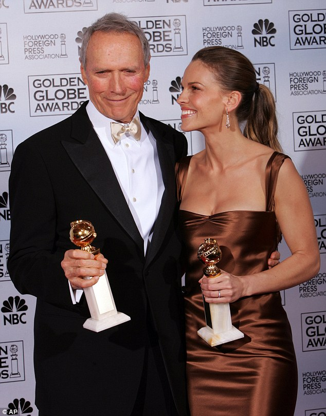 Big star: The Oscar-winning star of Boys Don't Cry and Million Dollar Baby (above with her Golden Globe and Clint Eastwood in 2004) will next be seen in Starz's cable series, The One Percent