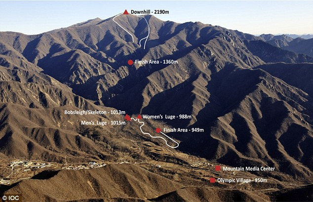 Pictured - the Yanqing mountains: There is no snow on the mountains where much of the 2022 Beijing Winter Olympics will take pklace