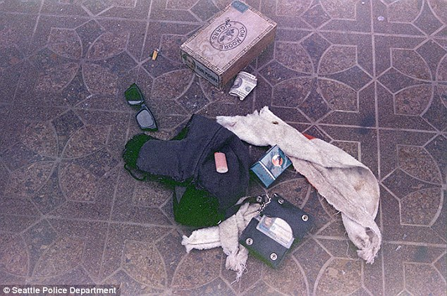 Evidence: A picture taken in the room where Cobain died shows a box containing drug paraphernalia next to half a cigarette, a pair of sunglasses and the singer's wallet
