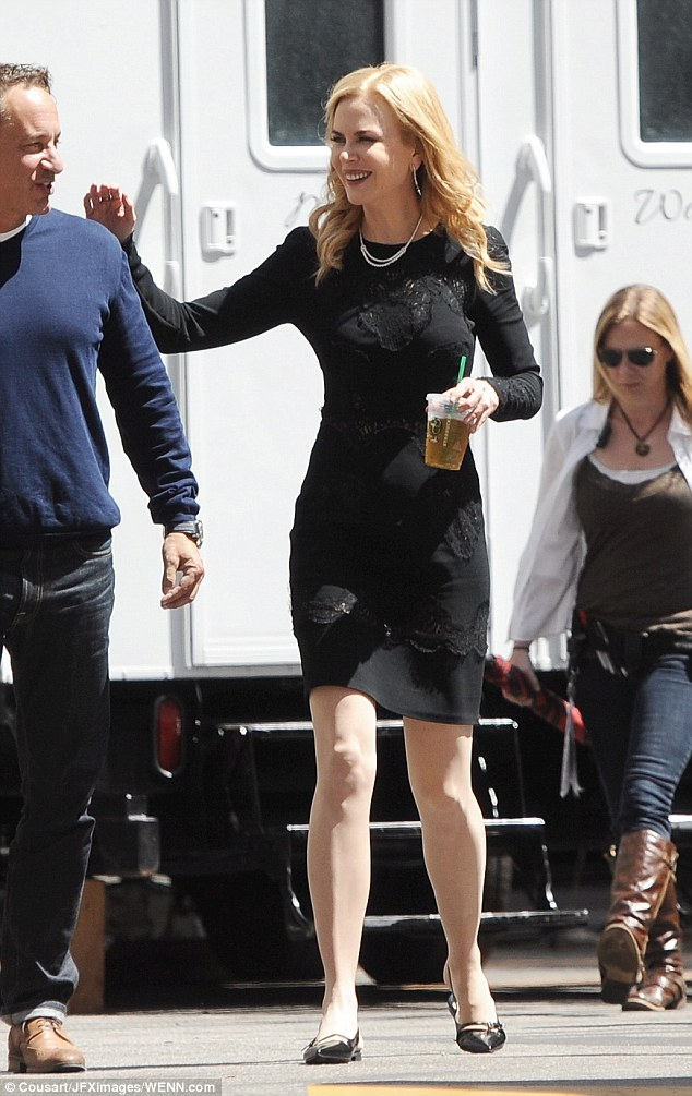 Hard at work: On Wednesday Nicole was also spotted filming a commercial in downtown Los Angeles