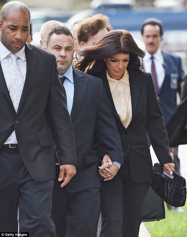 Legal battle: Teresa and Joe pictured at a New Jersey court last year in October