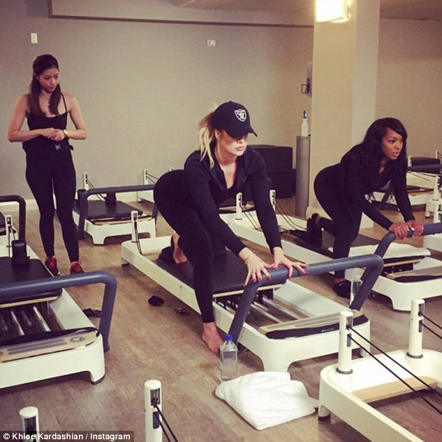 Working up an appetite! Before the meal, the fitness fanatic, who has been going hard at the gym in the past few months, took a Pilates class in the Sydney CBD with her best friend Malika Haqq