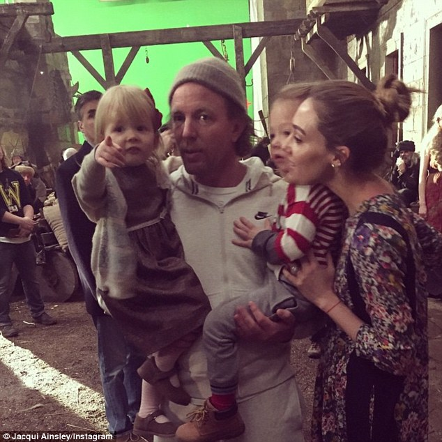 Jacqui and Guy with their son Rafael and daughter Rivka on the set of Knights of the Roundtable: King Arthur