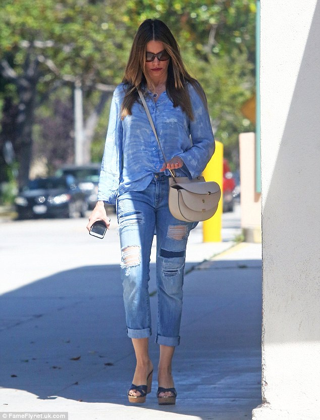 All blue everything: Sofia Vergara, 43, did her best impression of a Canadian Tuxedo on Tuesday as she headed to a nail salon in Beverly Hills