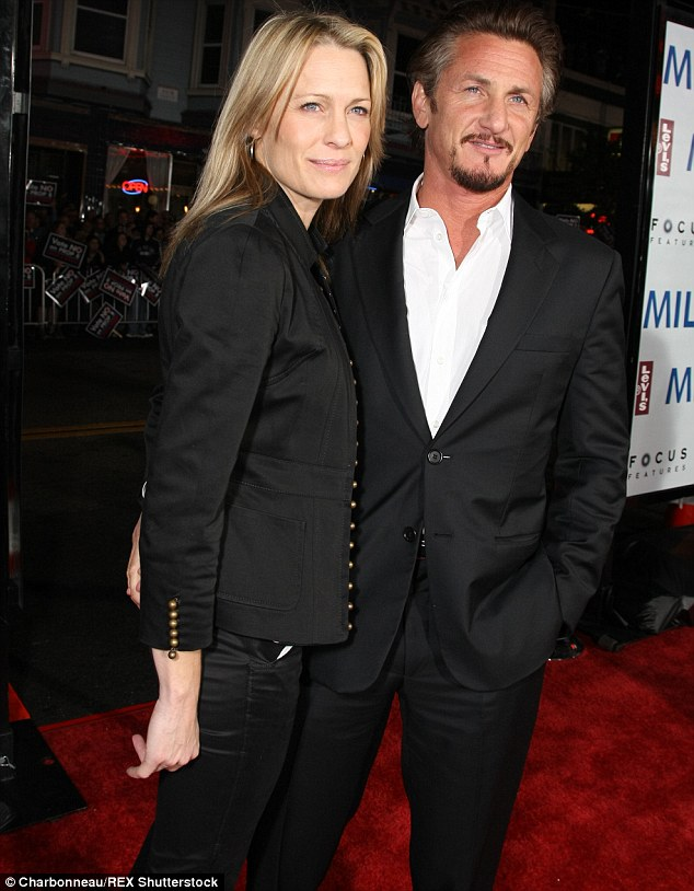 Ex files: The actress also has children Dylan, 24, and Hopper, 21, with ex-husband Sean Penn, left, whom she was with for 14 years. The pair are pictured here in 2008
