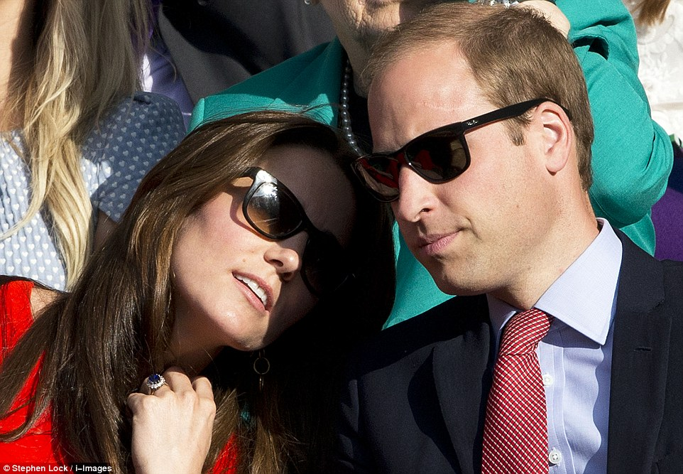 Tender moment: Kate appeared to rest her head on her husband's shoulder later in the day
