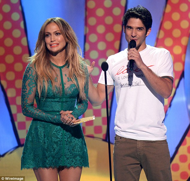 Night of stars: Jennifer Lopez is shown with Teen Choice Awards co-host Tyler Posey at the 2014 show