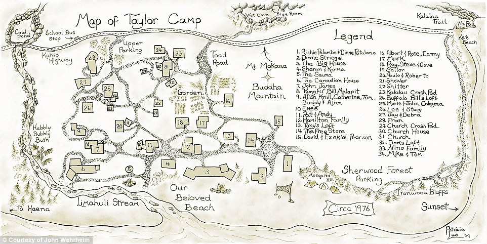 Piece of paradise: Above, a map of Taylor Camp as it appeared in 1976. While most of the campers started off living in primitive tents, they soon started building homes using bamboo and reclaimed wood