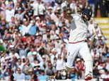 Joe Root of England celebrates hitting the winning ball to seal the win for his team during Day Three of the Third Ashes Test at Edgbaston.