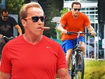 Arnold Schwarzenegger was hard to miss in a bright red shirt at Cafe Roma in Beverly Hills, on Saturday, August 1, 2015  X17online.com