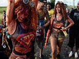 **EXCL WEB OFFERING ONLY**\nEXCLUSIVE: **STRICTLY NO SUBSCRIPTIONS**NO WEB** Rihanna parties at the start of the annual Foreday Jump Up in her native Barbados.