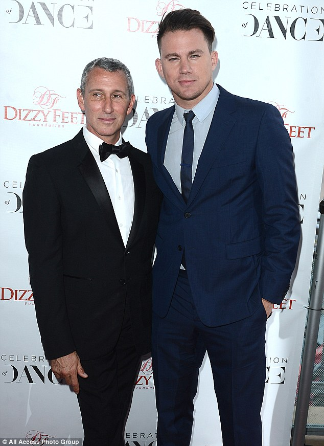 Suits you, sirs: Channing, 35, opted for a blue two piece as he posed with director Adam Shankman, who opted for a traditional black tuxedo. Adam co-founded the Dizzy Feet Foundation with Nigel Lythgoe in 2009