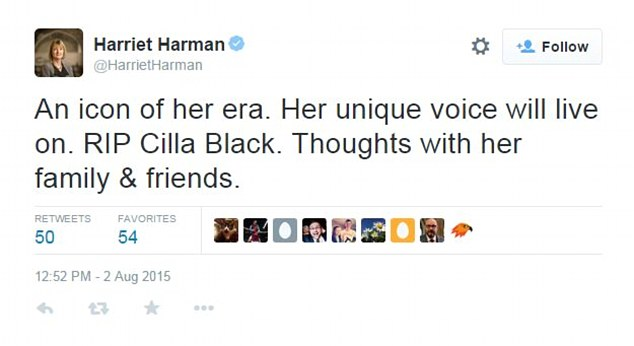 Acting Labour leader Harriet Harman took to Twitter as she described Cilla as 'an icon of her era'