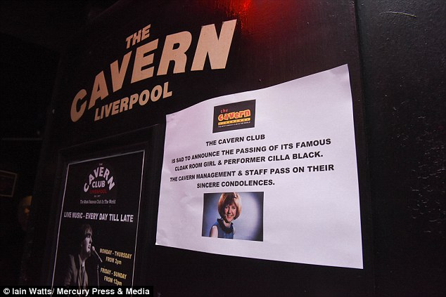Tributes: The Cavern Club in Liverpool posted this tribute to Cilla today after the news of her death broke