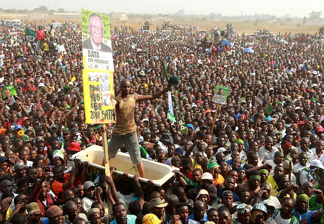 Mass support: In the run-up to the election many followers of Mr Sata's Opposition Patritotic Front took to the streets