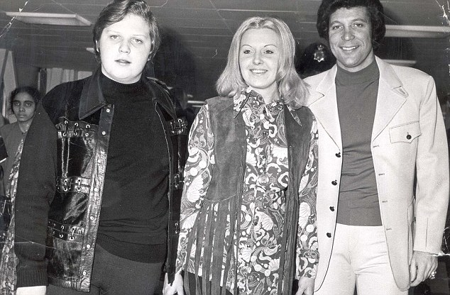 Family trip: Sir Tom Jones with his wife Linda and son Mark after they flew to America for the start of his five month tour starting in Miami in 1971