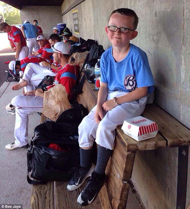 Tragic: Kaiser (pictured in a photo from the Bee Jays' website) was running to retrieve a bat when he was hit by a practice swing near the on-deck circle. The swing struck him in the head, knocking him to the ground