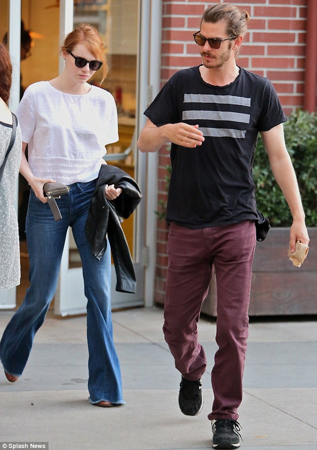Together again: Emma Stone and Andrew Garfield enjoyed a romantic dinner at Cafe Gratitude in the Venice Beach neighbourhood of Los Angeles on Saturday evening