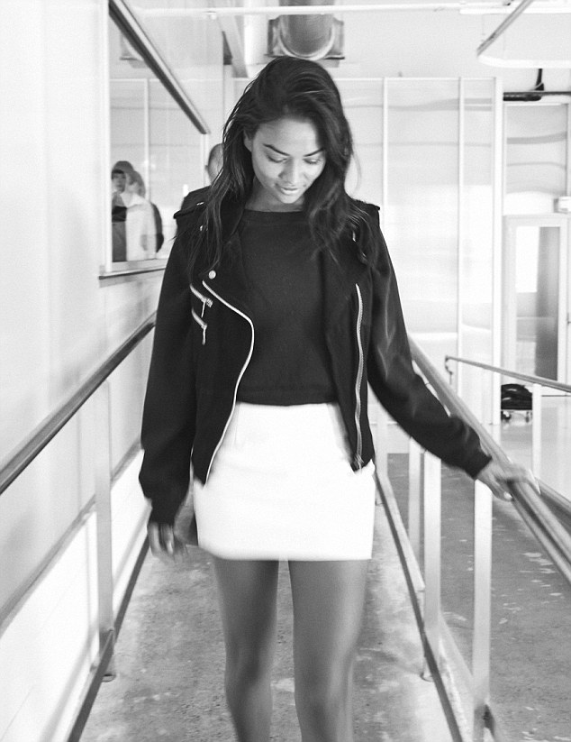 Sneek peak: As well as the glossy finished promo shots, Shanina is seen in a few behind-the-scenes snaps from the shoot