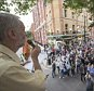 Camden Centre, Judd Street, London, UK. 3rd August, 2015.  Jeremy Corbyn MP and other prominent figures of the Left gather at the Camden Centre near Kings Cross in London to rally for Corbyn's election for the leadership of the Labour Party. Pictured:   Jeremy Corbyn addresses hundreds of the overflow crowd outside the Camden Centre in Bidborough Street on top of a fire engine. // Lee Thomas, Flat 47a Park East Building, Bow Quarter, London, E3 2UT. Tel. 07784142973. Email: leepthomas@gmail.com. www.leept.co.uk (0000635435)
