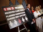 Senator Barbara Boxer (D-CA) speaks at a news conference on the funding for Planned Parenthood, accompanied by Senator Richard Blumenthal (D-CT) (L) and Senator Mazie Hirono (D-HI) (2nd-R), at Capitol Hill in Washington, United States August 3, 2015. Republican legislation prohibiting federal funding for Planned Parenthood failed to gather enough support in the U.S. Senate on Monday, halting at least for now moves to punish the group for its role in gathering fetal tissue from abortions. Senate Democrats succeeded in stopping the bill on a procedural vote. Sixty votes were needed to advance the legislation in the 100-person chamber; but it only received 53, with 46 voting against. REUTERS/Carlos Barria