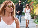 Picture Shows: Ashley Tisdale, Christopher French  August 03, 2015\n \n **MINIMUM WEB USAE £250**\n \n Actress Ashley Tisdale shows off some cleavage while walking her dog with husband Christopher French in Los Angeles, California. As Ashley bent over to help clean off her dogs rear end her dress fell down exposing her white bra. \n \n **MINIMUM WEB USAE £250**\n \n EXCLUSIVE All round\n UK RIGHTS ONLY\n \n Pictures by : FameFlynet UK © 2015\n Tel : +44 (0)20 3551 5049\n Email : info@fameflynet.uk.com
