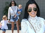 Picture Shows: Penelope Disick, Kourtney Kardashian, Reign Disick  August 03, 2015\n \n Pregnant reality star Kim Kardashian takes her daughter North to a friend's birthday party in Woodland Hills, California. Kim and North were joined at the party by Kourtney Kardashian and her children Mason, Penelope and Reign.\n \n Non-Exclusive\n UK RIGHTS ONLY\n \n Pictures by : FameFlynet UK © 2015\n Tel : +44 (0)20 3551 5049\n Email : info@fameflynet.uk.com