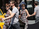 August 3 2015: Actors Kate Mara and Jamie Bell go out for coffee in The East Village in New York City.\nMandatory Credit: Zelig Shaul/ACE/INFphoto.com Ref.: infusny-220