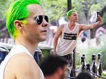 UK CLIENTS MUST CREDIT: AKM-GSI ONLY\nEXCLUSIVE: New York, NY - 'Suicide Squad' actor Jared Leto takes the time to take a selfie with his signature green hair for his dark character, the Joker.  He was seen walking with his cell in hand with the Joker as his screensaver.\n\nPictured: Jared Leto\nRef: SPL1093550  020815   EXCLUSIVE\nPicture by: AKM-GSI >\n\n