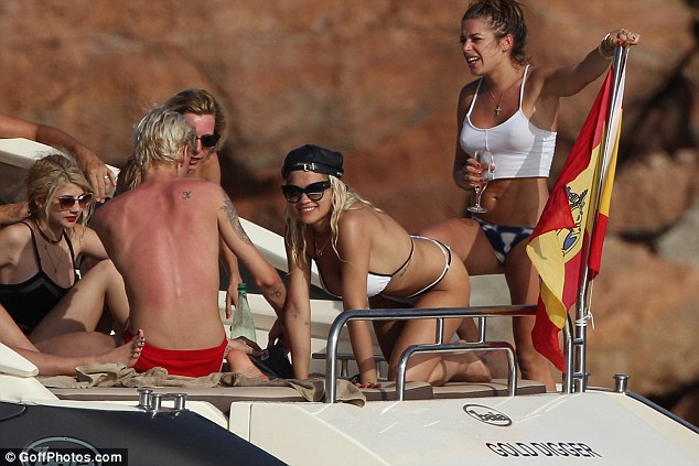 All at sea: After a day on the water the star was no doubt planning on checking out Ibiza's nightlife