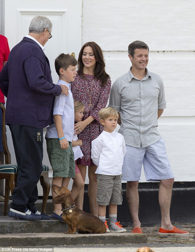 Family time: Crown Princess Mary and Crown Prince Frederik with their children Princess Isabella and Prince Vincent have been holidaying at their summer residence over the past few weeks