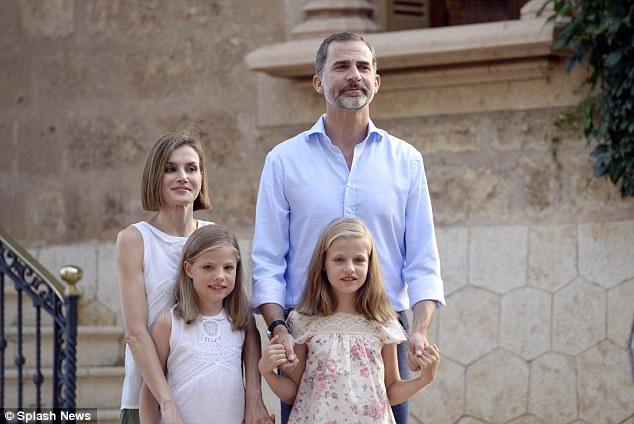 King Felipe VI, Queen Letizia, Leonor, Princess of Asturias and Infanta Sofia pose outside the Marivent Palace. Monday's appearance was the first time Letizia has been seen since the death of her grandfather