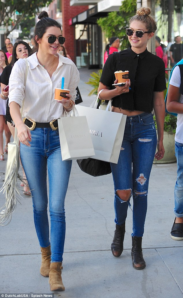 Big fan: On Friday Kendall was spotted eating frozen yogurt again after she did some shopping with fellow model Gigi Hadid