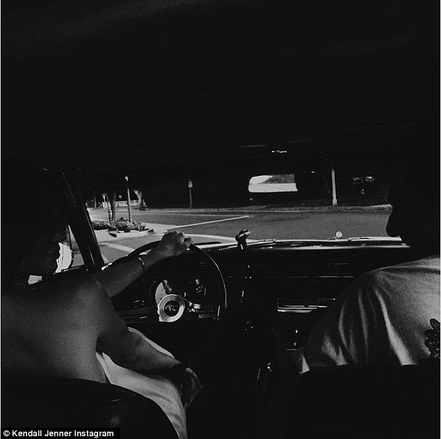 Classic: The reality TV star also shared a picture showing her behind the wheel of a classic car to which she captioned, '65'