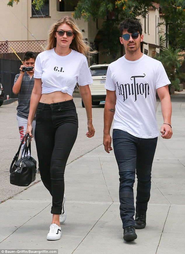 New beau: Hadid hangs out with new boyfriend Joe Jonas in Los Angeles on July 22