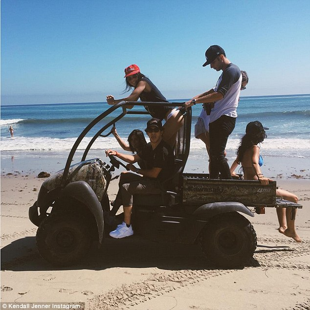 4WD: Over the weekend, Kendall shared snaps of her in numerous vehicles including this off-road capable Kawasaki Mule, which she took to beach with friends