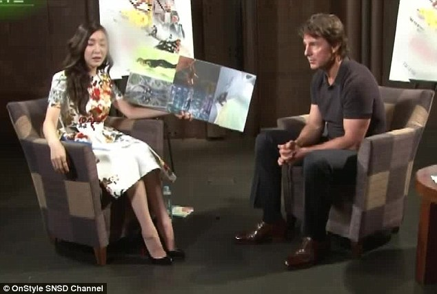 Talk to me Goose: Tom Cruise looked ashen-faced after Korean TV interviewer Tiffany Hwang mixed up the order of the Mission Impossible movies