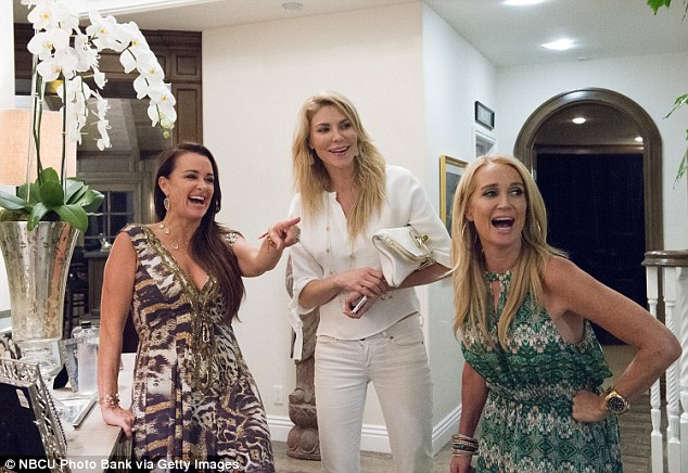 Axed: The 50-year-old has been axed from The Real Housewives Of Beverly Hills. She is seen here on season five with sister Kyle Richards and Brandi Glanville, who will also not be returning