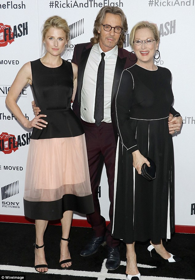 Starring roles: The mother-daughter duo posed alongside co-star Rick Springfield at the event which took place at the AMC Lincoln Square theater