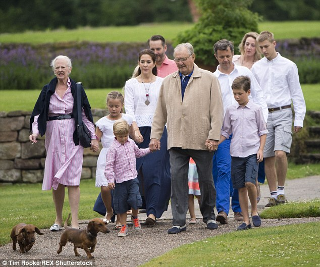 Family outing: The royal family were pictured during their annual family portrait at the summer residence,Gråsten Palace